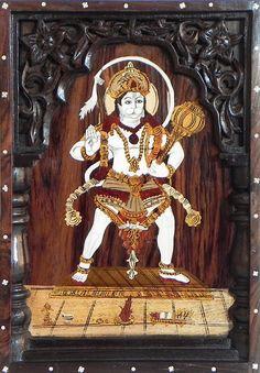 Veer hanuman - Inlaid Rosewood Wall Hanging (Wood Inlay))