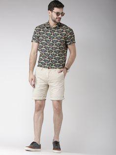 Scotch & Soda #Men #Beige & #NavyBlue #Linen #Printed #Casual #Shirt