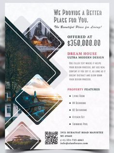 Real Estate Property Flyer Template Template PSD - Finans World 2020 Template Flyer, Template Brochure, Real Estate Flyer Template, Flyer Design Templates, Flugblatt Design, Cover Design, Layout Design, Logo Design, Custom Design