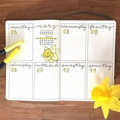 Bullet journal weekly layout, highlighted daily headers, cursive headers, daffodil drawing.   @lemome_notebooks