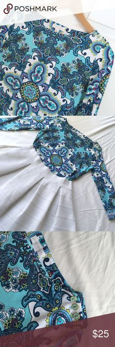 🎄SALE!🎄Charter Club Blue & White Paisley Top High quality fabric! 😍 Charter Club Paisley Top in beautiful blue hues with white, yellow, and pink accents. Super smooth and soft. Some stretch. Nylon/Spandex. Size XS. White Express Skirt also for sale--see other listing. 🎄Not accepting offers on my already reduced Christmas Sale items.🎄 Charter Club Tops