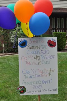 Sesame Street Sign for invitation sence were doin sophia n tys bday the same day this year maybe