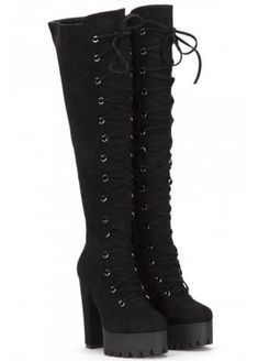 Onlineshoe Womens Tall Over The Knee Thigh High Block Heel Cleated Platform Fully Laced Boot Black Suede ** Check this awesome product by going to the link at the image. (This is an affiliate link) Thigh High Boots, High Heel Boots, Ankle Boots, Womens Gothic Boots, Sneakers Fashion, Fashion Shoes, Aesthetic Shoes, Cute Boots, Knee Boot