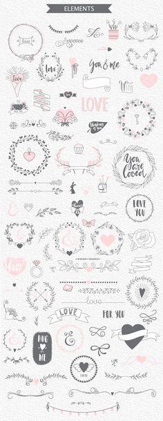 100 romantic elements by Imagine-art on Creative Market Bullet Journal Writing, Bullet Journal Headers, Bullet Journal Banner, Bullet Journal Notes, Bullet Journal Aesthetic, Leaves Illustration, Diy Love, Doodle Drawings, Bullet Journal Inspiration