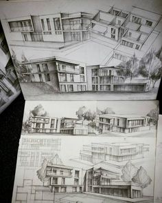 Architecture - daily sketches ( * fotos y vídeos Architecture Sketchbook, Architecture Graphics, Architecture Student, Architecture Portfolio, Architecture Design, Interior Design Sketches, Sketch Design, Conceptual Drawing, Architect Drawing