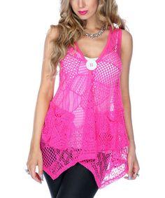Look at this #zulilyfind! Pink Sheer Handkerchief Swing Top - Plus by Lily #zulilyfinds