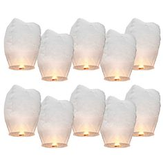 10pcs Chinese Lantern paper White Wedding Decoration Sky Fire sky lanterns Flying Candle Wish Lamp for Birthday Wish Party ideas