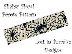 Peyote Bracelet Pattern - Flighty Floral - Peyote Stitch Pattern Bracelet or Bookmark