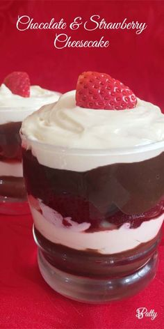 chocolate and strawberry cheesecake in a glass