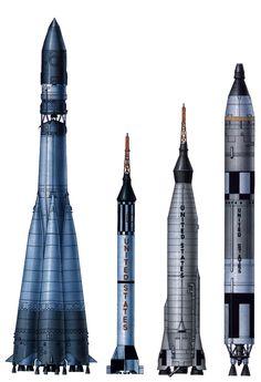 Russian 1961 R-7 Vostok-1 vs US 1962 Mercury-Redstone and other early space rockets. Source: Eureka: El error de Sájarov o por qué la Unión Soviética alcanzó el espacio antes que los EEUU
