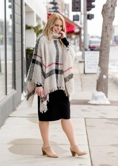 Inherit Co.  | Women's New Arrivals | Soft Plaid Print Poncho Skirts For Sale, Dark Tan, Clothing Co, Black Plaid, Modest Outfits, Stay Warm, Skirt Fashion, Final Sale, Layering