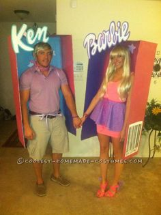 Hands-Free Barbie and Ken in a Box Couple Costume... This website is the Pinterest of costumes