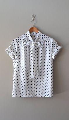 70s polka dot blouse / vintage polka dot shirt / by DearGolden, $36.00