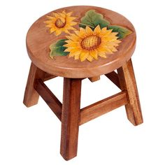 Wood stool with sunflower detail. Product: StoolConstruction Material: Wood Color: Multi