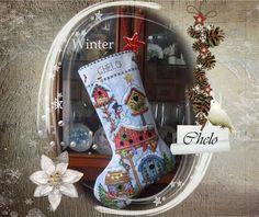 Bota de Navidad bordada