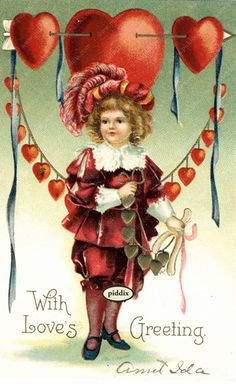 """Super-cute vintage Victorian-era Valentine with child and heart banner. Message """"With Love's Greeting,"""" signed by Aunt Iola. PDXC8398 -- One of more than 100 #vintage victorian-era #valentines available from piddix for licensing"""