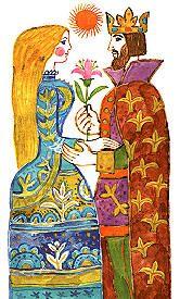 Mese a szegénylányról, aki aranyvirágot lépik, Reich Károly rajza