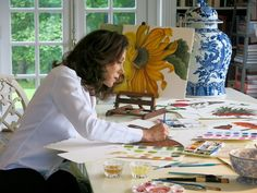 Carolyne Roehm painting in her studio at Weatherstone Decoupage, Calligraphy Drawing, Charleston Homes, Rustic Home Design, Botanical Illustration, Art Studios, Artist At Work, Chinoiserie, Decoration