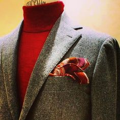 RING JACKET suit / model-246 fabric by CARLO.BARBERA with RJ Original polo neck knit