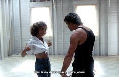 Look, spaghetti arms. This is my dance space. This is your dance space. You don't get into mine. Iconic 80s Movies, Old Movies, Dirty Dancing Quotes, Cute Couple Halloween Costumes, Jennifer Grey, Dance Instructor, Patrick Swayze, Beautiful Love, Aesthetic Pictures
