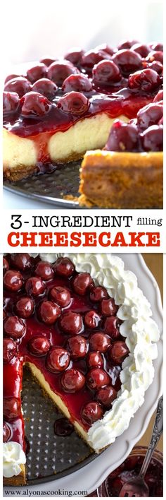 This cheesecake recipe requires ONLY 3 filling ingredients! There's probably nothing easier than that! A must try dense & delicious cheesecake recipe to make! No Bake Desserts, Easy Desserts, Delicious Desserts, Dessert Recipes, Yummy Food, Cheesecake Recipes, Best Sweets, Yummy Cakes, Recipes