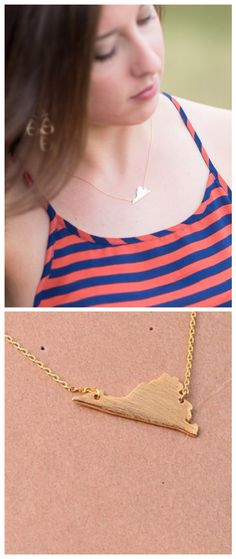 The Virginia State Necklace is just $18 at DUO on The UVA Corner in Charlottesville, VA www.shopatduo.com