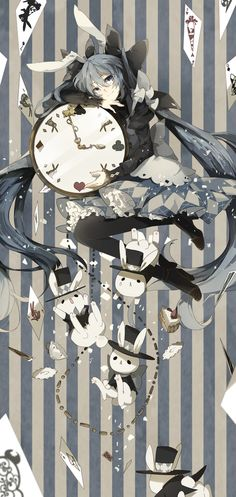 alice in wonderland   anime   bunny   clock   girl   rabbit