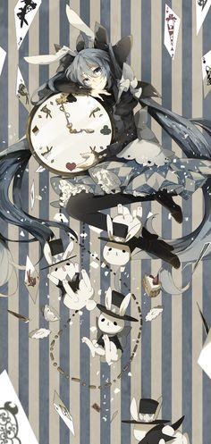 alice in wonderland   anime   bunny   clock   girl   rabbit