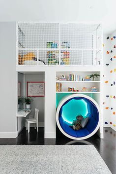 kids room play area: desk, climbing wall, reading loft, shelves, ...