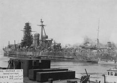 Battleship Congo is undergoing modernization at a shipyard in Yokosuka,20 March 1931