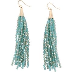 Humble Chic NY Mermaid Tassel Dangles ($30) ❤ liked on Polyvore featuring jewelry, earrings, aqua, dangle earrings, beaded fringe earrings, beading earrings, beaded jewelry and beaded earrings