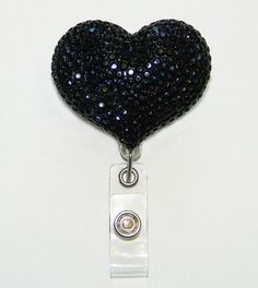 Fully Blinged Black Heart - Rhinestone Retractable Badge Reel - Badge Holders - Designer ID Reel - Nurse Gifts - Pretty Name Badge Clips by partyblingbling on Etsy https://www.etsy.com/listing/198134716/fully-blinged-black-heart-rhinestone