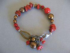 Red Coral & Authentic Pearl Bracelet  SUNDANCE csd