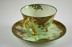 Antique T Limoges Artist Signed Ornate Footed Cup and Saucer Hand Painted   the early 1900s