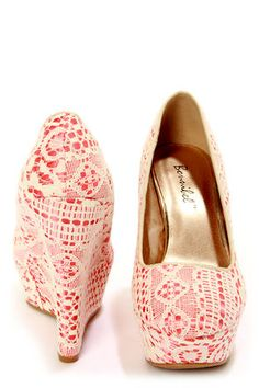 LuLu*s Ailey 2 Coral Lace wedges