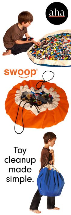 Swoops are the ultimate, modern, toy storage bag + play mat in one that makes cleaning up all those Legos and other toys a breeze! BUY NOW: http://www.ahalife.com/product/3864/swoop-bag?utm_source=Pinterest&utm_medium=ads&utm_campaign=SwoopBag_Desktop&rw=0