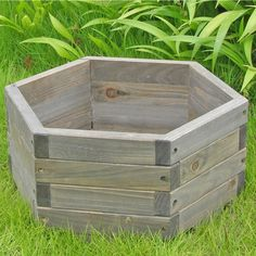 This Medium 20 x 20 x Hexagon Fir Wood Barrel Planter would be a great addition to your home. It has a hexagon shaped garden barrel and is functional and practical. - Medium 20 x 20 x He Wood Barrel Planters, Garden Planter Boxes, Wooden Planters, Pallets Garden, Garden In The Woods, Amazing Gardens, Backyard Landscaping, Container Gardening, Recycling