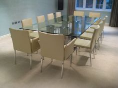 domestic roomset of 12 leather chairs around a contemporary glass table large dining room tablesquare - 12 Seater Square Dining Table