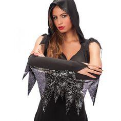 Gloves Black with Spider Web Fringes Fringes, Spiders, Gloves, Ruffle Blouse, Books, Black, Women, Fashion, Moda