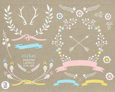 Couronnes florales, lauriers, rubans, clipart, vector, fleurs folkloriques, invitation de douche, papeterie de parti, couleur pastel, téléchargement immédiat