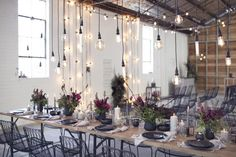 industrial wedding reception with hanging bare bulbs