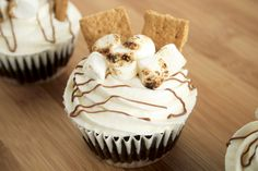 Chocolate Smore Cupcakes. HUNDREDS OF CUPCAKE RECIPES HERE..