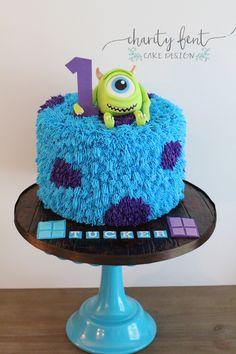 Monsters Inc. Birthday Cake - Springfield, MO Monster Inc Cakes, Monster Birthday Cakes, Monster 1st Birthdays, Monster Birthday Parties, 2nd Birthday Parties, Monster Party, Bolo Mickey Baby, Monster University Birthday, Monster University Cakes