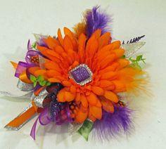 Prom Wrist Corsage with Orange Gerbera Daisy with Rhinestone Center. $35.00, via Etsy.