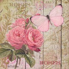 VINTAGE, EL GLAMOUR DE ANTAÑO: Láminas para decoupage/ Entre Rosas y Mariposas
