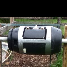 My pickle barrel compost tumbler.