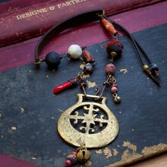 Gypsy tribal brass and trade bead amulet necklace - crescent