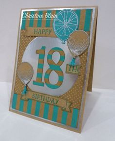 STAMPIN' UP! NUMBER OF YEARS, SHINE ON, BIRTHDAY CARD