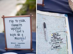Instead of a guest book, have guests pick their favorite vacation spot in an atlas, and leave you a note! photo by capturedbyjen.com