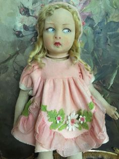 Lenci 110 doll in rose felt dress and coat from antiquedolls6395 on Ruby Lane